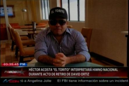 David Ortiz Invita al Héctor Acosta  ¨ El Torito ¨ a tocar el himno Nacional Dominicano durante el acto de su retiro