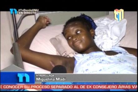 Miguelina Madi chica atropellada por un pelotero quien se dio a la fuga, pide ayuda