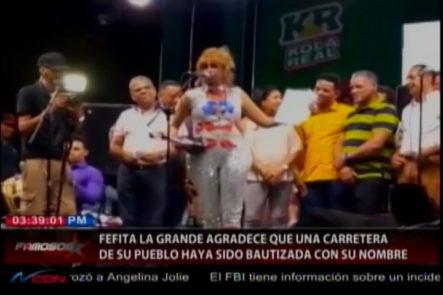 """Bautizan con el nombre de la  """"'La Vieja Fefa'"""" a carretera en Santiago Rodríguez por su trayectoria artística"""
