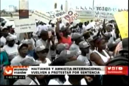 Amnistía Internacional,  grupos Pro Haitianos protestan frente al Tribunal Constitucional