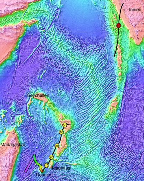 Situación del microcontinente bajo las islas de Mauricio y Reunión