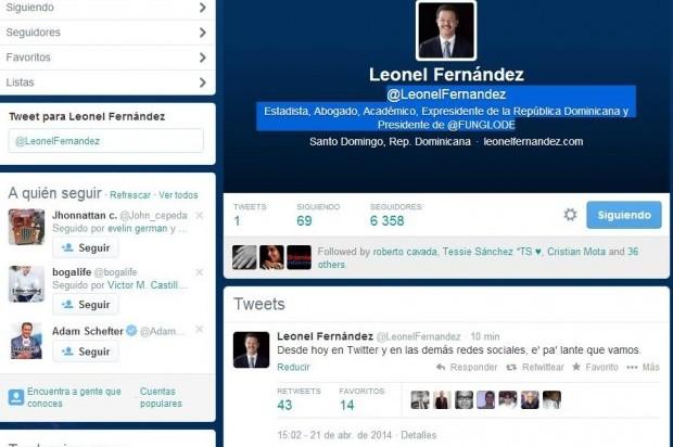 Leonel Fernández estrena cuenta en Twitter