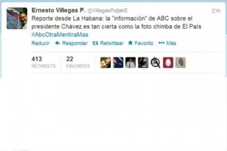 Ministro venezolano dice que afirmaciones de ABC sobre salud de Chávez son falsas