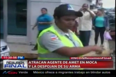 """En Pleno Centro De La Ciudad De Moca, Tres Delincuentes Le Aplican Una """"Percepción"""" A Una Agente De AMET"""