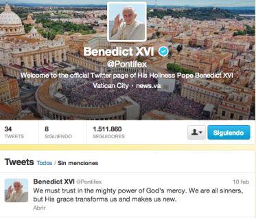 El último tuit de Benedicto XVI: Todos somos pecadores, pero la gracia de Dios transforma