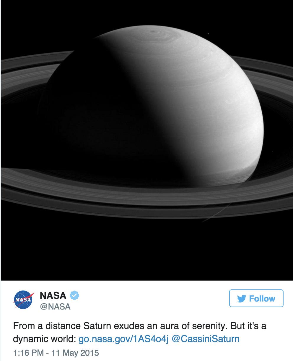Publican foto única de Saturno tomadas a 2,5 millones de kilómetros del planeta