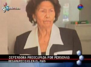 Defensora del Pueblo preocupada por desapariciones en el pais