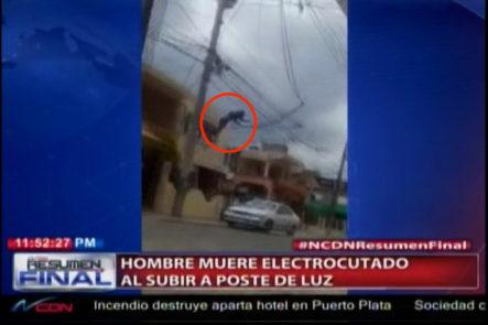 ¡Fuertes Imágenes! Captado En Cámara Hombre Recibe Una Descarga Eléctrica Y Cae Desde Un Poste De Luz