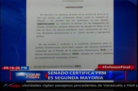 Senado Dominicano Certifica PRM Como Segundo Partido Mayoritario