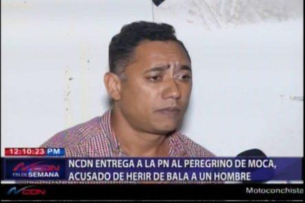 NCDN Entrega A La PN Peregrino De Moca, Acusado De Herir De Bala A Un Hombre