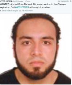 La policía busca a un sospechoso, Ahmad Khan Rahami, por la bomba de Nueva York