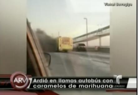 Se incendia un autobús cargado de caramelos de Marihuana