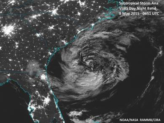 Subtropical Storm Ana is seen in a view from the NOAA Suomi National Polar-obiting Partnership day/night band satellite