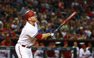 Jun 2, 2015; Phoenix, AZ, USA; Arizona Diamondbacks outfielder Mark Trumbo against the Atlanta Braves at Chase Field. The Diamondbacks defeated the Braves 7-6. Mandatory Credit: Mark J. Rebilas-USA TODAY Sports