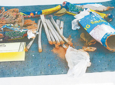 A collection of fireworks found inside a backpack are seen in a handout photo released by the Federal Bureau of Investigation