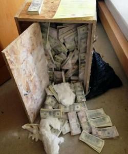 Hallan 8,5 millones de dólares ocultos en una caja de madera