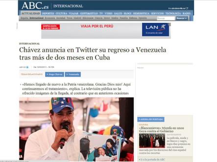Noticia del retorno de Hugo Chávez a Venezuela da la vuelta al mundo