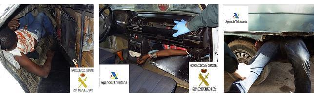 Localizan a tres inmigrantes ocultos en dobles fondos de dos coches