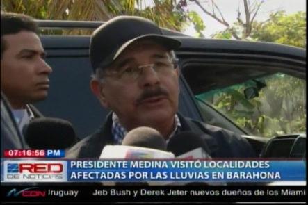 Presidente Medina Visitó Localidades Afectadas Por Las Lluvias En Barahona