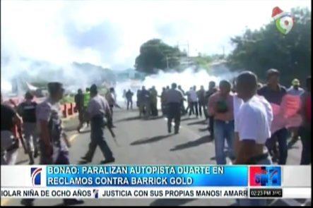 Bonao: Paralizan Autopista Duarte En Reclamo Contra Barrick Gold