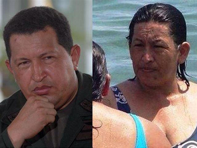 La foto de la particular mujer viene circulando, tanto en Facebook como Twitter, a lado del fenecido presidente de Venezuela, cuyo rostro es conocido en todo el mudo por su polémico modo de gobernar.