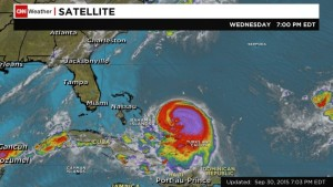 Joaquin strengthened into a Category 2 hurricane in the Atlantic on Wednesday, Sept. 30, 2015, and is poised to pound the central Bahamas with heavy rain and dangerous storm surges in the next day. Joaquin's center was spinning 175 miles (281 kilometers) east-northeast of the central Bahamas.