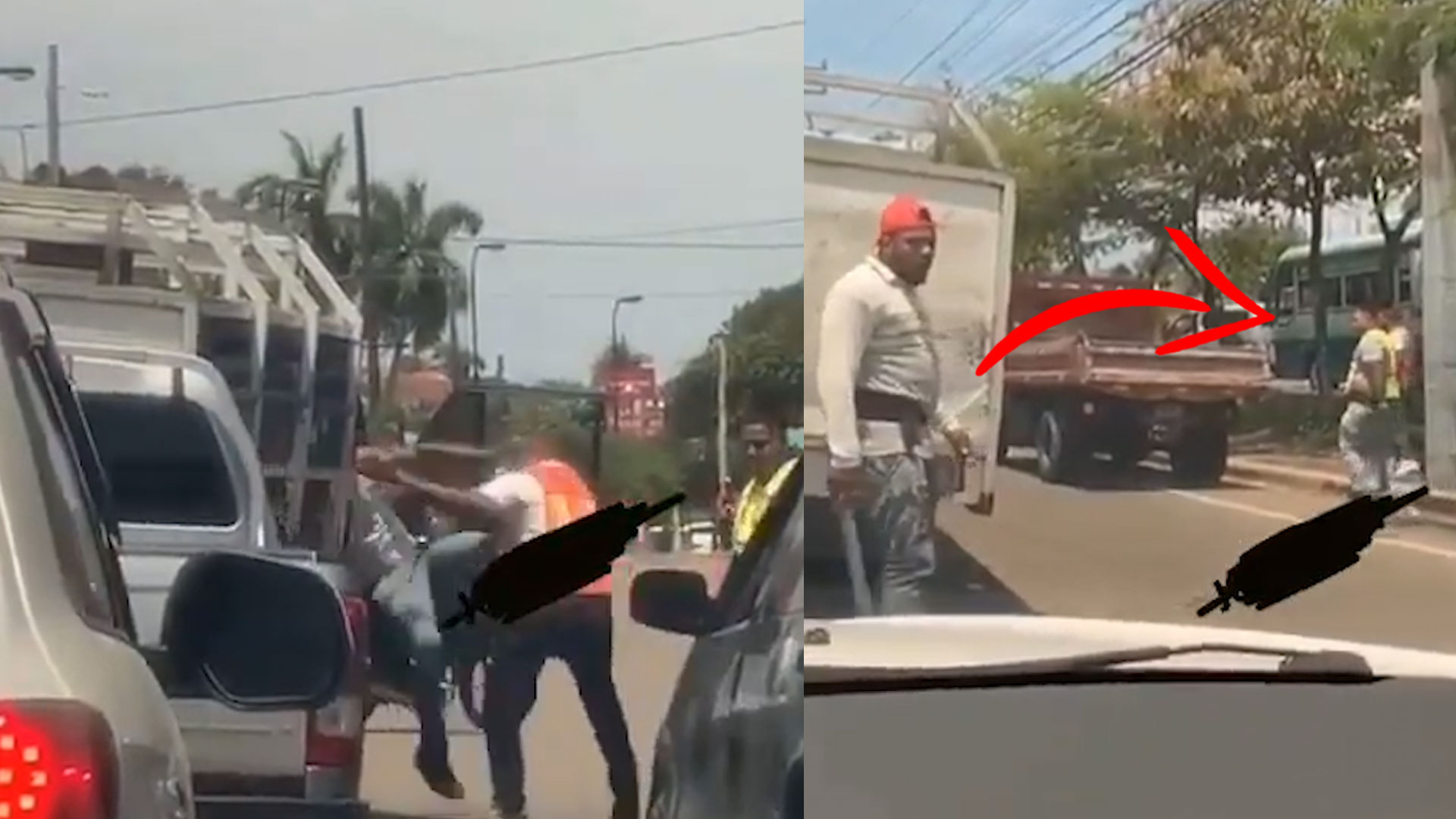 """Momento En Que Un Grupo De EMPLEADOS PRIVADOS """"SE VAN A LA TROMPA"""" En Plena Vía Pública"""