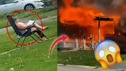 """Mujer Le Prende Fuego Su Casa Con Una Persona Dentro Y Se Sienta """"como Que Nada Ha Pasado"""" A Presenciar El Incendio"""