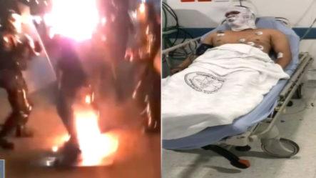 Entre La Vida Y La Muerte Un Policía Que Le Prendieron Fuego En Medio De Una Protesta