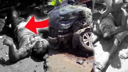 ¡Terrible Accidente! Carro Choca Con Una Guagua De Transporte, Hasta El Momento Hay Dos Heridos