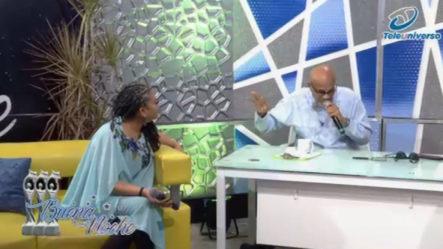 """En Medio De La Entrevista De Diomary """"La Mala"""" Nelson Javier Canta En   Buena Noche"""