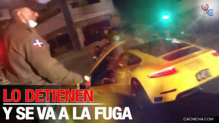 Policía Detiene A Individuo En Un Auto Deportivo Y Este Emprende La Huida
