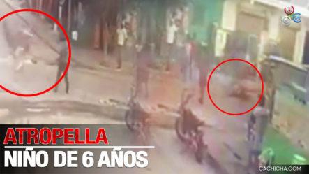 Cámara Capta Momento Que Motorista Calibrando Atropella Niño De 6 Años En Higüey