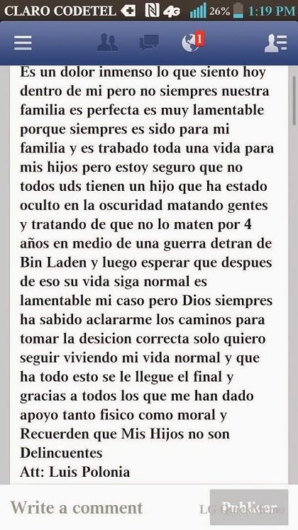 Escrito De Luis Polonia En Facebook Sobre Caso De Su Hijo #Foto
