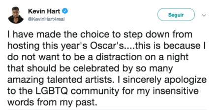 Kevin Hart Renuncia A Presentar El Óscar Por Polémica De Tuits Homófobos