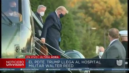Momento En Que El Presidente Trump Llega Al Hospital Militar Walter Reed