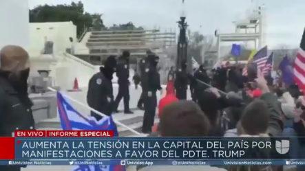 La Policía Utiliza Gases Lacrimógenos Para Evitar El Ingreso Al Capitolio De Manifestantes Que Apoyan Al Presidente Trump
