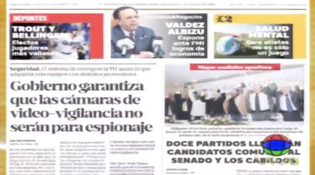 Informaciones En Las Portadas De Los Periódicos Del Día De Hoy 15 De Noviembre Del Año 2019