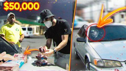 Le Doy $50,000 A Un Desconocido Por ALTERAR EL CRISTAL De Su AUTO (NO SE LO CREE)